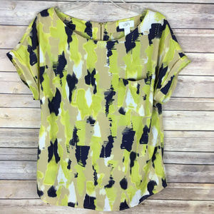 LOFT Large Green Purple Beige Blouse Short Sleeve